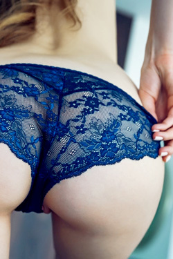 Teen Hottie Kay Slips Out Of Her Sexy Blue Lace Panties